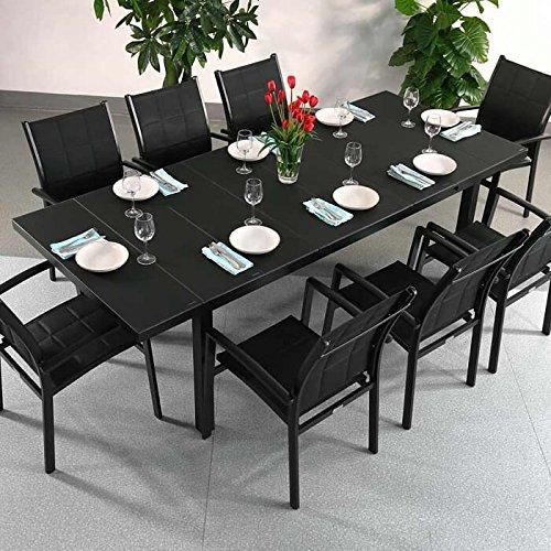 Table à manger aluminium Beatrice et 8 Chaises Georgia - NOIR | Table extensible de 240cm - mécanisme automatique