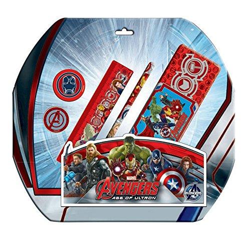 AVENGERS – Set de papelería 5 piezas con portatodo metalico en blíster de avengers
