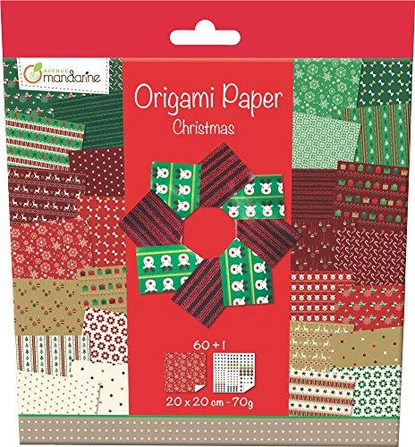 Avenue Mandarine 52508O Origami color Papier (quadratisch, 20x20cm, mit Faltanleitung) 60 verschiedenen Blätter und 1 Blatt mit Augenset, weihnachten