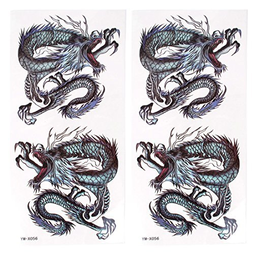 Black Dragon Pattern Temporary Tattoo Transfer Aufkleber 2 Stück -