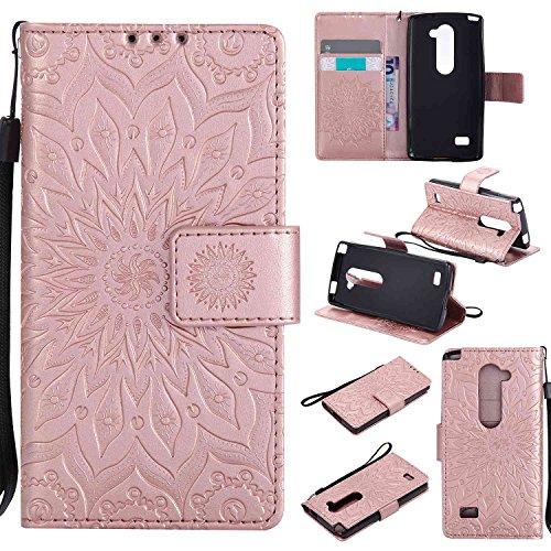 """pinlu Flip Funda de Cuero para LG Leon 4G 4.5"""" Carcasa con Función de Stent y Ranuras con Patrón de Girasol Cover (Oro Rosa)"""