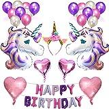 Einhorn Party Dekoration Ballons Alles Gute Zum Geburtstag Set Happy Birthday Party Supplies für Infant Mädchen Boy Lady Kinder Erwachsene Geburtstagsparty (C)