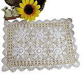 Yizunu - Mantel Rectangular de algodón con Encaje de Ganchillo, White 40x60cm