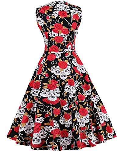 FAIRY COUPLE 50s Women Vintage Floral Button Swing Casual Dress DRT025(4XL, Red Skull)