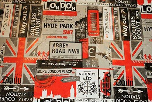 London Thema, schwarz und rot, abwischbare Tischdecke, Wachstuch, Vinyl, PVC, 140x 200cm.