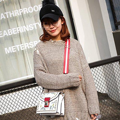 BYD Femme Mini sac de mode en cuir Femme sac à bandoulière de sac à main Sac de motif de broderie Vintage Blanc