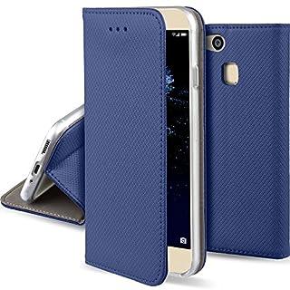 Moozy Hülle Flip Case für Huawei P10 Lite, Dunkelblau - Dünne magnetische Klapphülle Handyhülle mit Standfunktion