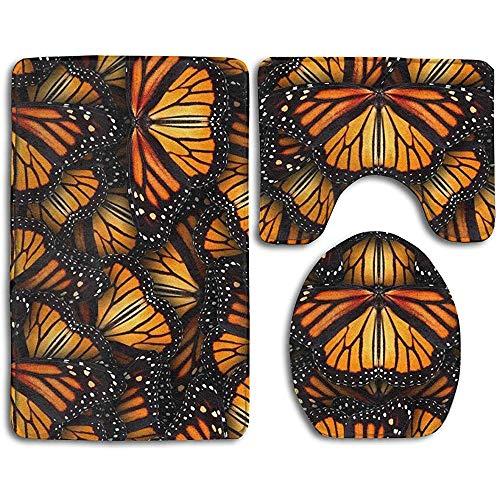 SOMN bath mats rutschfeste saugfähige super gemütliche Flanell Badezimmer Teppich Teppich WC Sitzbezug und Teppich mit Haufen von Orange Monarch Schmetterlinge Muster -