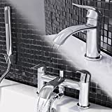 Curved Chrome Basin Mixer Tap + Designer Bath Tub Tap with Hand Held Shower Set