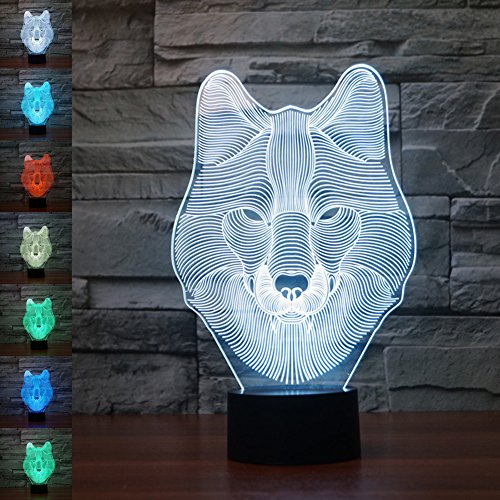 3d Illusion Lamp jawell Night Light Wolf 7Changing Colors Touch USB Table...