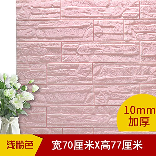Tapete-Schaum Wallpaper Wallpaper 3D Selbstklebende Wasserfeste Aufkleber 6 Stück Three-Dimensional Wandaufklebern, Rosa, 70 X 77 Cm (Dimensional Schaum)