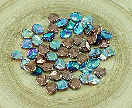 50X Kristall Regenbogen-Kupfer-Tschechischen PRECIOSA Glas Rosenblüten-Gepresste Blumen-Flache Perlen 8mm x 7mm - Gläser Tschechische Kristall