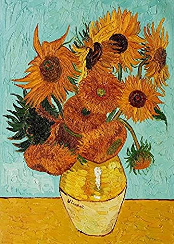 Wieco Art - Sunflower by Vincent Van Gogh Oil Paintings Reproduction Modern Floral Giclee Canvas Prints Artwork Flowers Pictures on Canvas Wall Art for Home and office Decorations