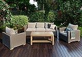 SIENA GARDEN Lounge Set Veneto - Sofa, zwei Sessel und Tisch aus Akazienholz - witterungsbeständig, lichtecht & pflegeleicht …