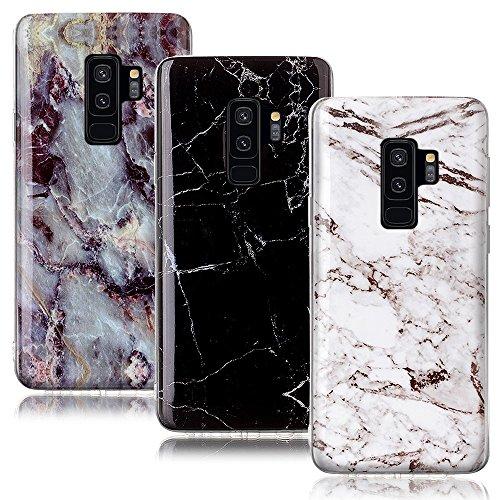 CLM-Tech kompatibel mit Samsung Galaxy S9 Plus Hülle 3X, TPU Gummi Case Silikonhülle 3er Set, Marmor Muster schwarz weiß Mehrfarbig