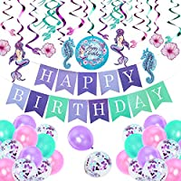 Comius 55 Pack Mermaid Party Decorations, Mermaid Hanging Swirl Supplies, Latex Balloons, Happy Birthday Banner for Birthday Party, Baby Shower, Under the Sea Party Supplies