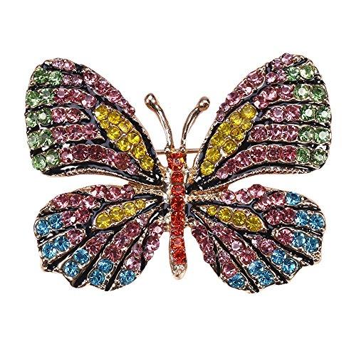 Spilla in lega, 4Colors donne farfalla spilla in lega di perle gioielli festa nuziale con decorazione di strass(#2)