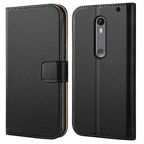 HOOMIL Moto X Style Hülle, Handyhülle für Motorola Moto X Style Tasche Leder Flip Case Brieftasche Etui Handy Schutzhülle - Schwarz (H3126)