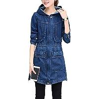 BOLAWOO-77 Giacca di Jeans di da Cappotto Lunga Donna Jeans Mode di Marca con Cappuccio Giacca di Jeans Sottile Cappotto…
