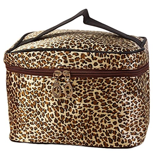Ouneed Travel Makeup Bag Leopard Print Cosmetic Bags for Women