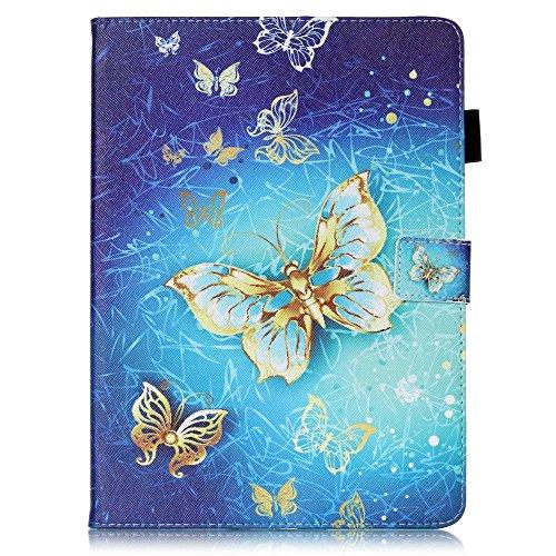 Skytar Tab A 9,7 Zoll Schutzhülle,Folio Case Cover mit Support-Funktion PU Leder Hülle für Samsung Galaxy Tab A 9.7'' Zoll (Wi-Fi SM-T550N / LTE SM-T555) Tablet,Gold Schmetterling