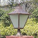 HDMY Classical Outdoor Post Lamp Fence Garden Light Patio Puerta Impermeable Barandilla Exterior Villa Lantern Columna Decorativa Pilar de luz (Color : Bronze)