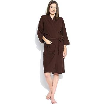 ebaeb8478c Sanddune Men s and Women s Plain Terry Cotton Full Sleeve Knee Length Bathrobe  Gown with Pocket and Waist Belt (Brown