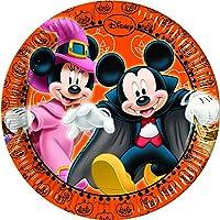 Procos 82354 - Piatti Carta Mickey Halloween, Ø20 cm, 8 Pezzi, Arancione/Nero