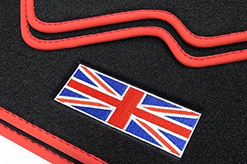 teileplus24 510 Fußmatten Gummimatten Union Jack Logo Bandeinfassung Ziernähte