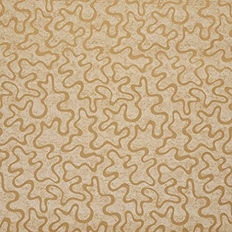 U0090A Gold Abstract Large Squiggly Pattern Upholstery Fabric By The
