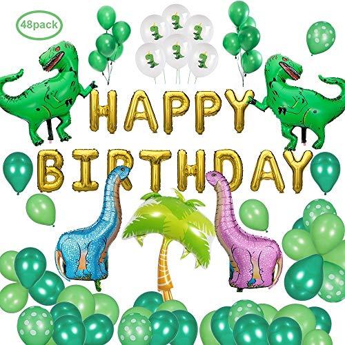 Dinosaurier Geburtstag Party Dekoration Ballons Lieferungen, DAYPICKER Dinosaurier-Ballons Banner 20pcs grün Latexballons 10pcs Dinosaurier-Ballons 2pcs grün Tyrannosaurus Rex 2Pc Pin blau Dinosaurier