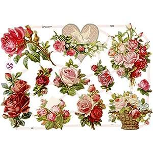 Creativ 16.5 x 23.5 cm Roses Paper Vintage Die-Cuts 3 Sheet, Multi-Color