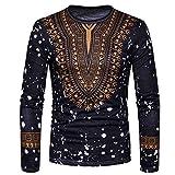 Imprimé Africain Décontracté pour Homme O Neck Pullover Chemisier à Manches Longues T-Shirt Malloom