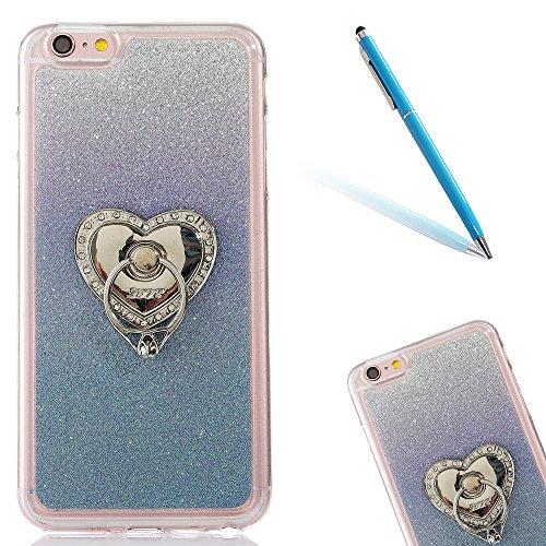"""iPhone 5s Handyhülle, Bling Glitzer Funkeln CLTPY iPhone SE Durchsichtig Dünne Matte Gel Cover Schlanke Hybrid Stoßdämpfende & Kratzfeste Gummi Case mit Kippständer für 4.0"""" Apple iPhone 5/5s/SE + 1 x Blue with Ring"""