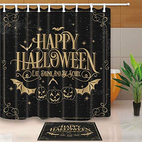 n Decor Fledermaus Kürbis in Vintage für Halloween Party 71X71in Polyester Duschvorhang Set 15.7x23.6in Flanell rutschfeste Boden Fußmatte Bad Teppiche ()