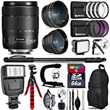 Canon 18-135mm Is USM Lens + Flash + 0.43X Wide Angle Lens + 2.2X Telephoto Lens + LED Kit + Video Stabilizing Handle + UV-CPL-FLD Filters + Macro Filter Kit - International Version