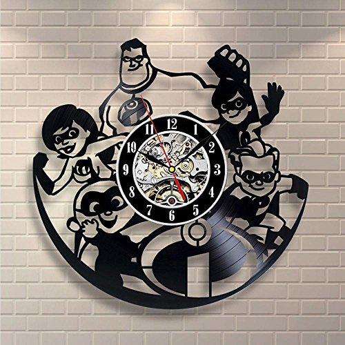 Aoligei Vinyl Mobilisierung Black Gum Rekord Uhr Cartoon kreative Kinder Zimmer Dekoration Uhr hohle retro Wand Uhr