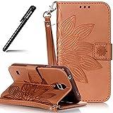 Handyhülle Galaxy S5 Mini,BtDuck Slim PU Leder Wallet Tasche Brieftasche Ledertasche Prägung...