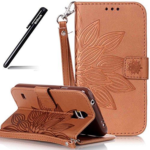 Handyhülle Galaxy S5 Mini,BtDuck Slim PU Leder Wallet Tasche Brieftasche Ledertasche Prägung Patterned mit Magnet Lanyard Strap Schutzhülle für Samsung Galaxy S5 Mini Handyhülle Braun Strap-mini
