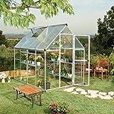 Palram Aluminium Gewächshaus Gartenhaus Hybrid 6x8 Silber // 250x185x209 cm (LxBxH); Treibhaus & Tomatenhaus zur Aufzucht