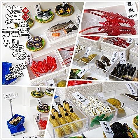 Orcara 1:12 échelle Maison de Poupée Miniatures poupée Accessoires Jouet Nourriture Dream Fruits de mer Frais Poisson Marine marché Lot de 8