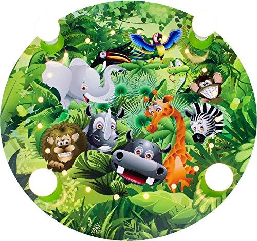 dschungel lampe Elobra Kinderlampe Deckenleuchte Wildnis Dschungel mit LED Nachtlicht, Kinderzimmer, Holz, grün, A++