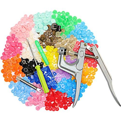Druckknöpfe mit Zange,XIAO MO GU 300 Set Druckknöpfe Nähfrei,Druckknopf set mit Zange,20 Farben Snaps Jersey Druckknöpfe