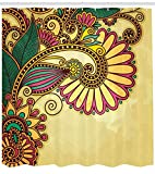 Abakuhaus Grunge Duschvorhang, Paisley Blumen-Blatt, aus Stoff inkl.12 Haken Digitaldruck Farbfest Langhaltig Bakterie Resistent, 175 x 180 cm, Multi