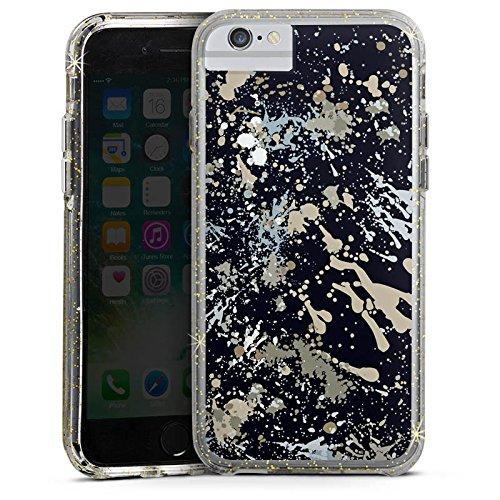 Apple iPhone 6 Bumper Hülle Bumper Case Glitzer Hülle Camouflage Farbklekse Pattern Bumper Case Glitzer gold