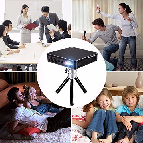 ELEGIANT Mini DLP Pico Projecteur 1080P WIFI HD Home Cinéma Théâtre 1500 Lumens Compatible avec Caméra XBOX Notebook DV DVD PS3 iPad Iphone noir
