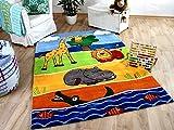 Lifestyle Kinderteppich Afrika Tierwelt Blau in 3 Größen !!! Sofort