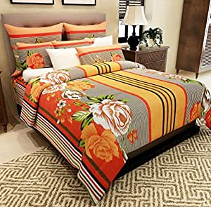 Home Candy 144 TC Cotton Double Bedsheet with 2 Pillow Covers - Printed, Multicolour