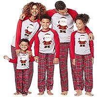 Navidad de BaZhaHei, Mamá Papá Noel Tops Blusa Pantalones Pijamas familiares Ropa de dormir Trajes de Navidad Conjunto Traje de servicio a domicilio de manga larga damas de manga larga para mujer niño