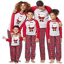 BaZhaHei-Navidad Mamá Papá Noel Tops Blusa Pantalones Pijamas Familiares Ropa de Dormir Trajes de